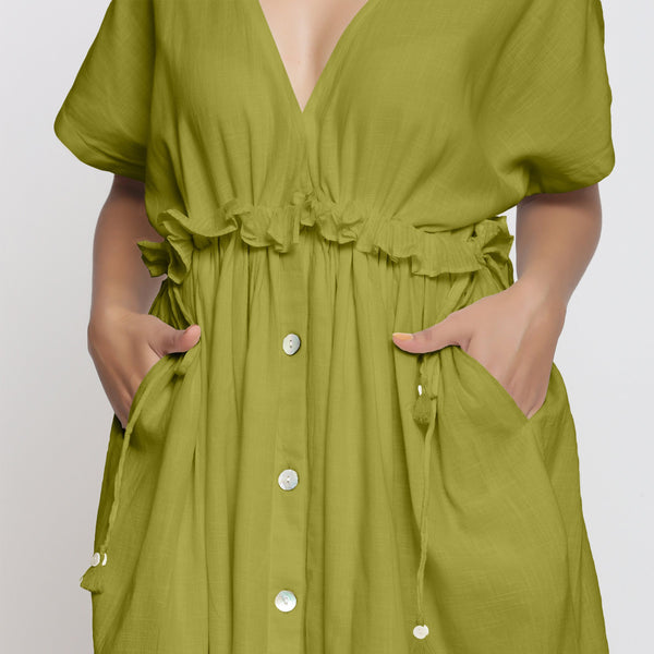 Front Detail of a Model wearing Olive Green Deep Neck Bohemian Frilled Dress