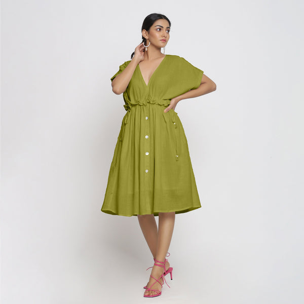 Front View of a Model wearing Olive Green Deep Neck Bohemian Frilled Dress