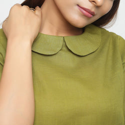 Front Detail of a Model wearing Olive Green Everyday Essential A-Line Top