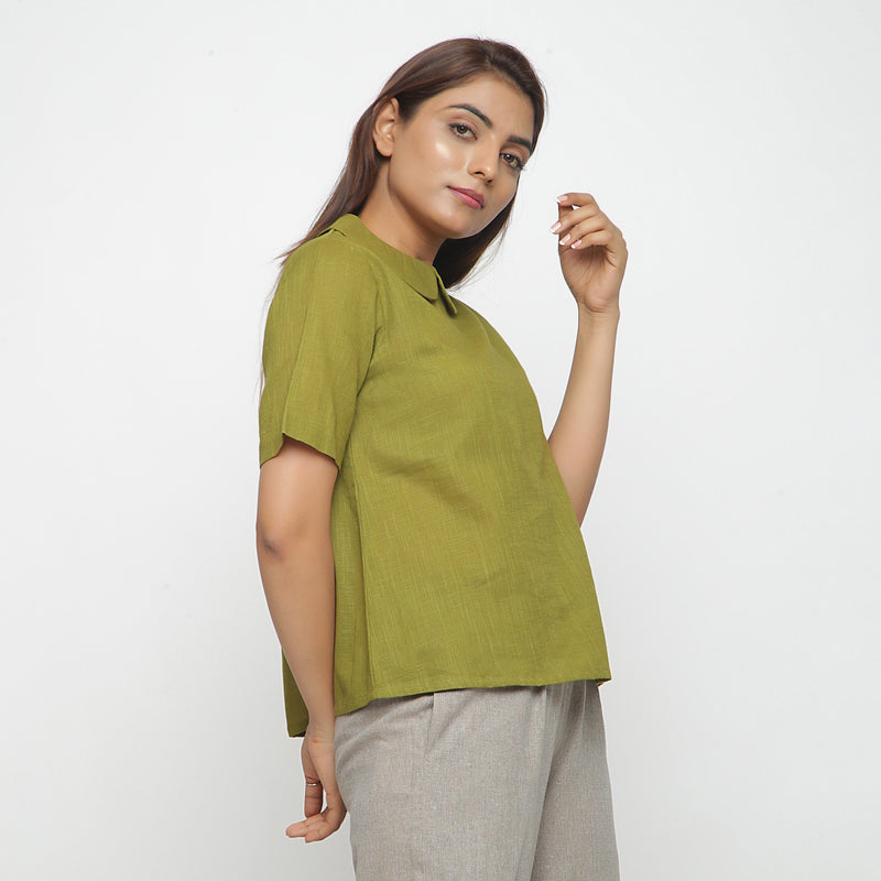 Right View of a Model wearing Olive Green Everyday Essential A-Line Top