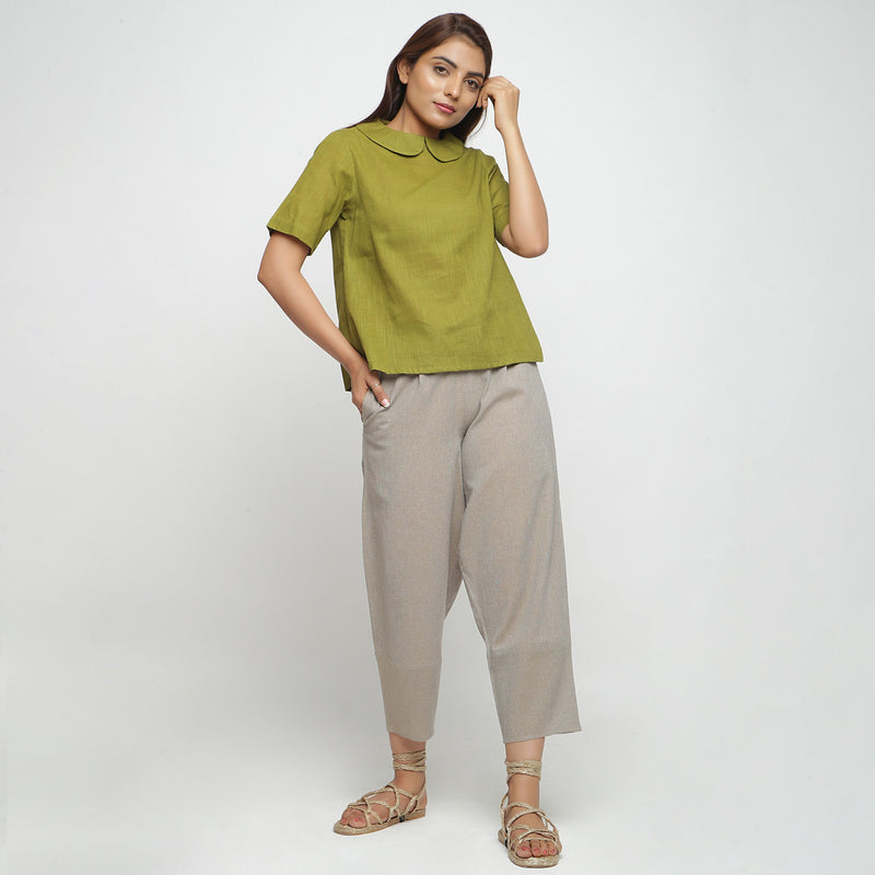 Front View of a Model wearing Olive Green Everyday Essential A-Line Top