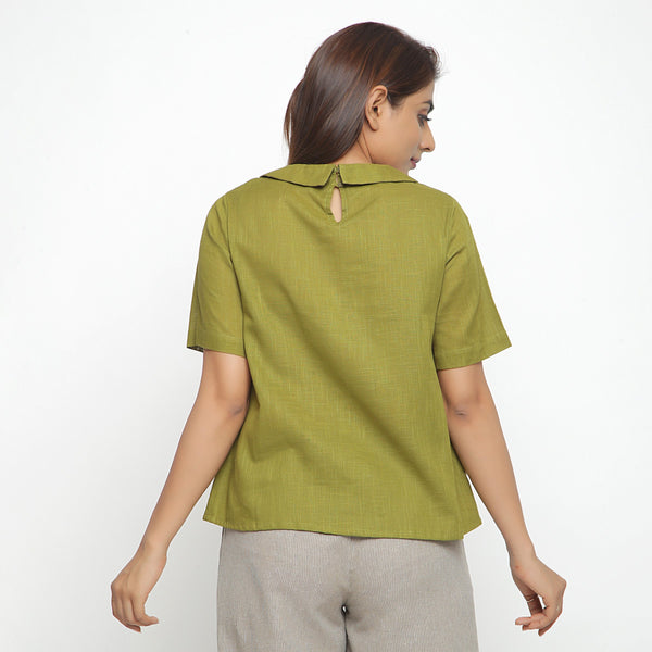 Back View of a Model wearing Olive Green Everyday Essential A-Line Top