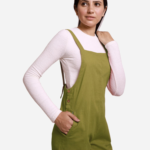Right Detail of a Model wearing Olive Green Pinafore Midi Length Dungaree