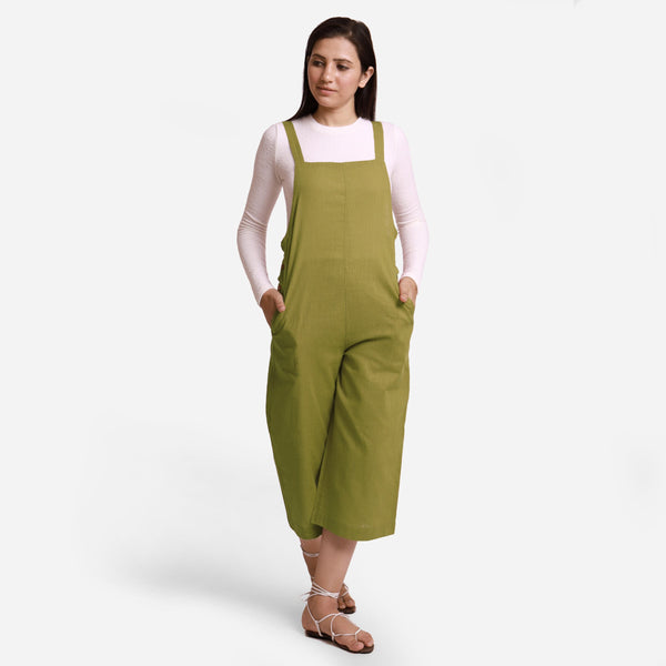 Front View of a Model wearing Olive Green Pinafore Midi Length Dungaree