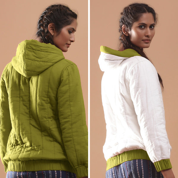 Back View of a Model wearing Olive Green Reversible Quilted Cotton Bomber Jacket
