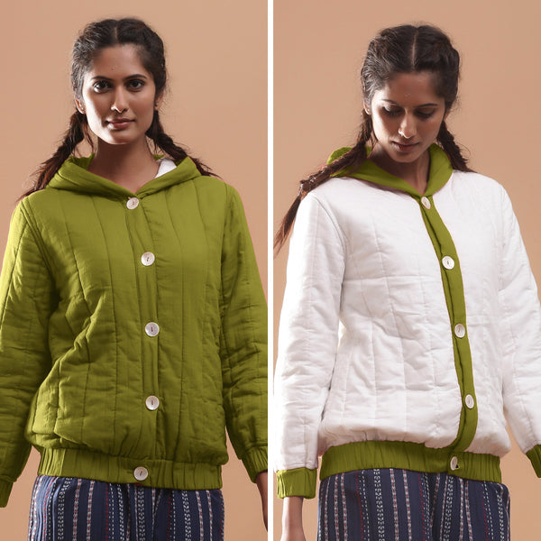 Front View of a Model wearing Olive Green Reversible Quilted Cotton Bomber Jacket