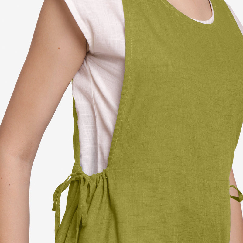 Right Detail of a Model wearing Olive Green Waist Tie Up Pinafore Jumpsuit
