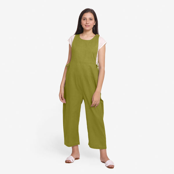 Front View of a Model wearing Olive Green Waist Tie Up Pinafore Jumpsuit