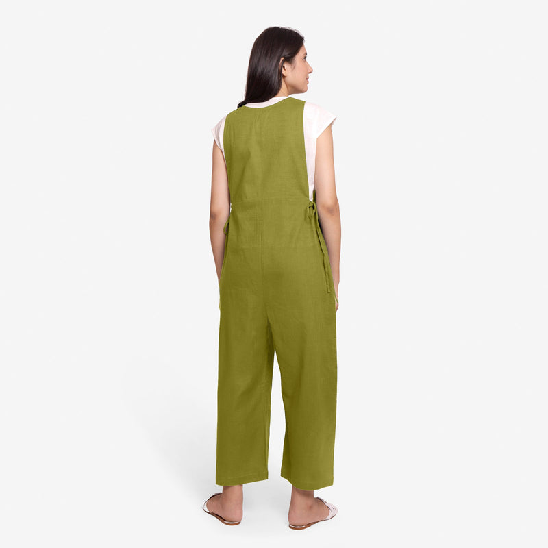 Back View of a Model wearing Olive Green Waist Tie Up Pinafore Jumpsuit