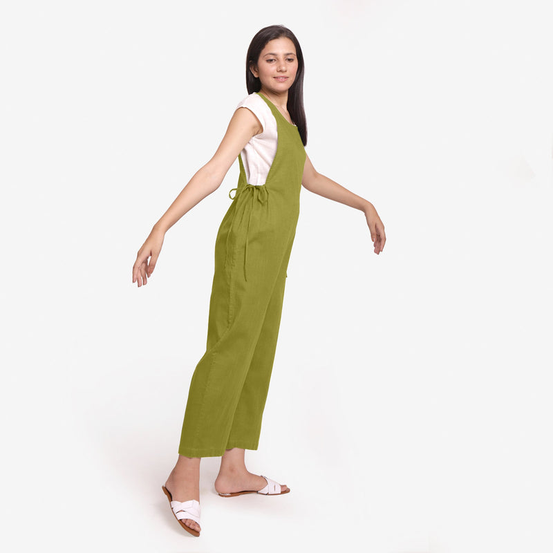 Right View of a Model wearing Olive Green Waist Tie Up Pinafore Jumpsuit