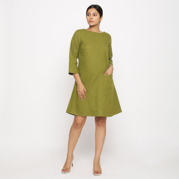 Front View of a Model wearing Olive Green Yoked Cotton Tunic Dress