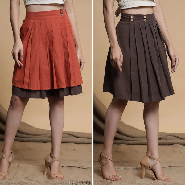 Orange and Brown Reversible Pleated Flared Skirt