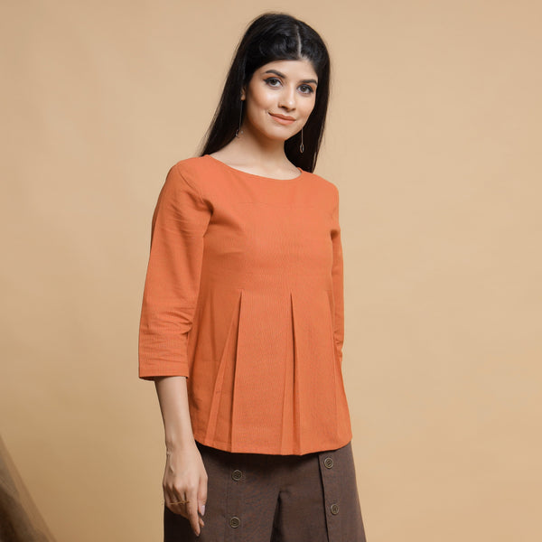 Orange Box-Pleated High Low Top
