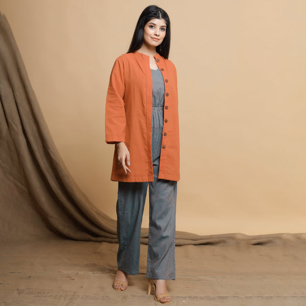 Orange Button Down High Neck Outerwear