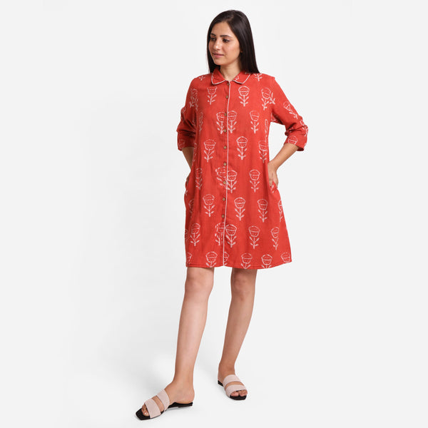 Front View of a Model wearing Dabu Hand Block Print Orange Button-Down Dress