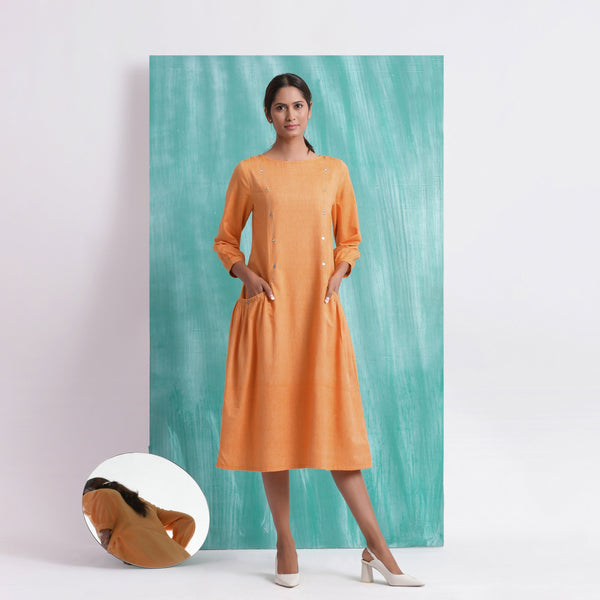 Front View of a Model wearing Orange Comfort Fit Mirror Work Dress