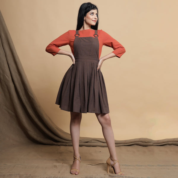Orange Pleated Top and Brown Dress Set