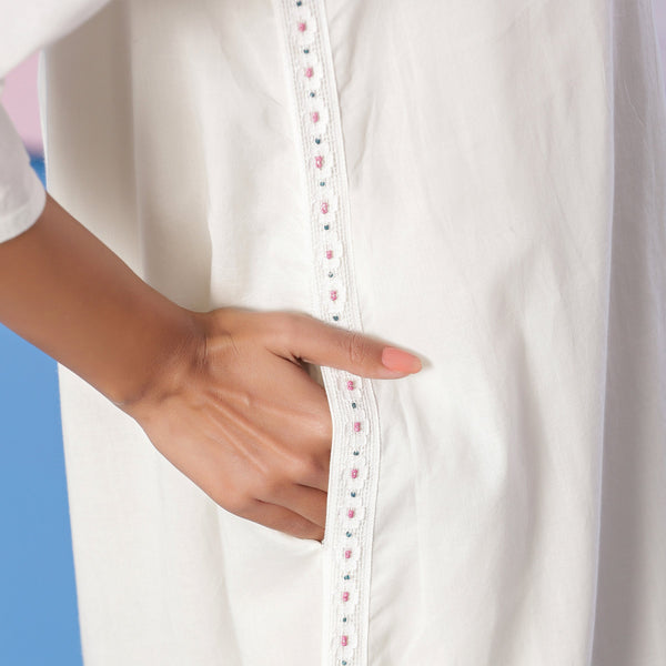 Right Detail of a Model wearing Organic Cotton White Beaded Shirt Dress