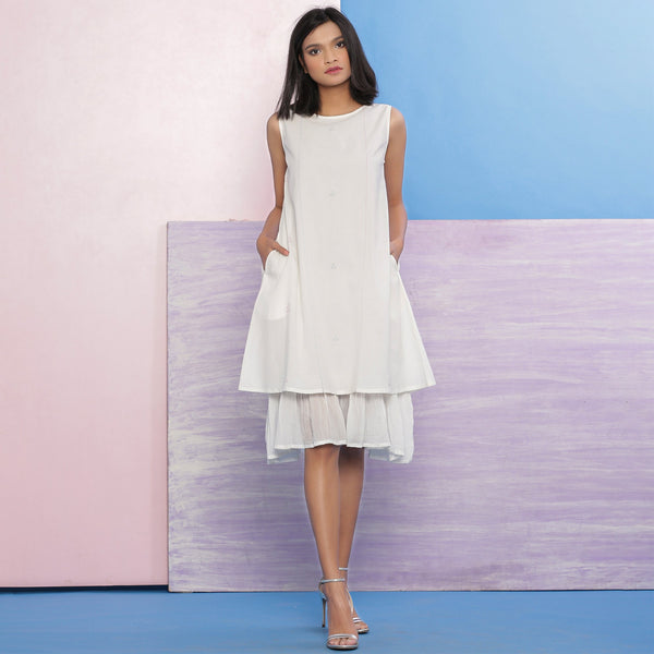 Organic Cotton White Embroidered A-Line Dress