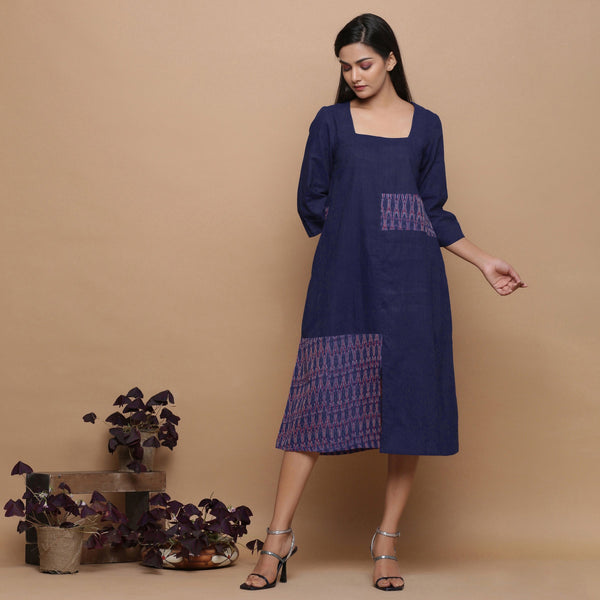 Front View of a Model wearing Paneled Ikat Blue Handspun Slit Dress