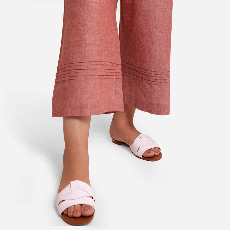 Close View of a Model wearing Peach Comfort-Fit Cotton Flared Pant