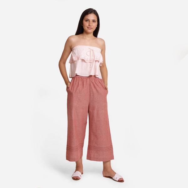 Front View of a Model wearing Peach Comfort-Fit Cotton Flared Pant