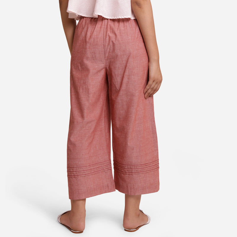 Back View of a Model wearing Peach Comfort-Fit Cotton Flared Pant