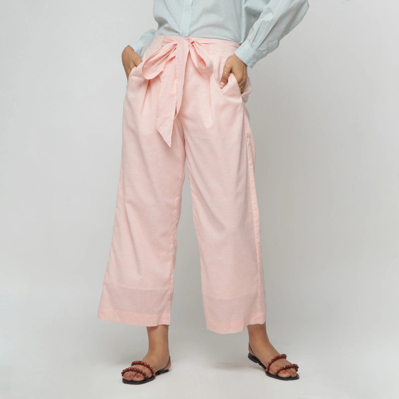 Front View of a Model wearing Peach Mid Rise Cotton Straight Pant