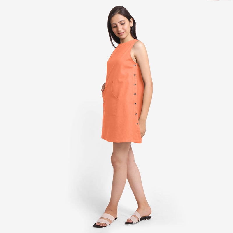 Peach Cotton Flax Kangaroo Pocket Dress