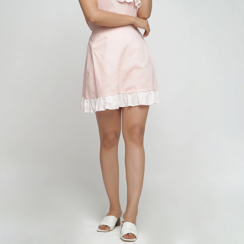 Front View of a Model wearing Peach Cotton Chambray A-Line Skirt