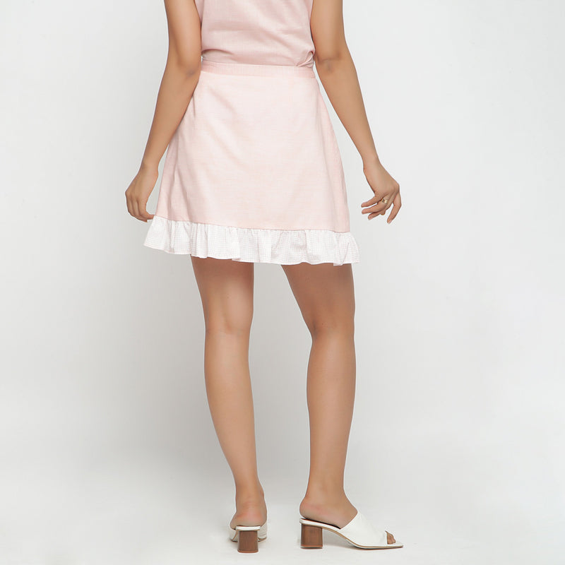 Back View of a Model wearing Peach Cotton Chambray A-Line Skirt