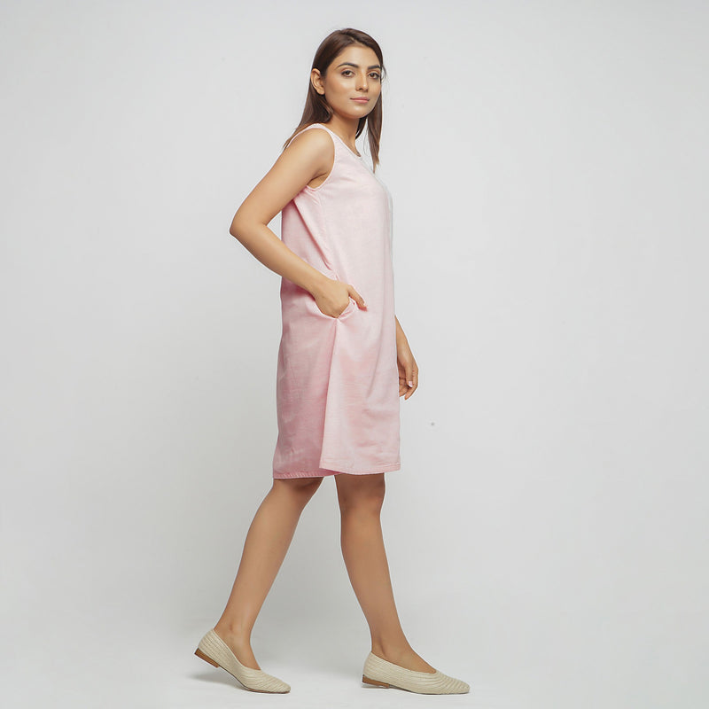Right View of a Model wearing Peach Hand Block Printed Paneled Dress