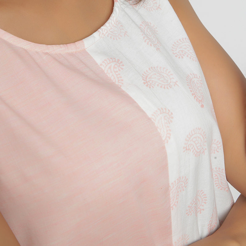 Front Detail of a Model wearing Peach Hand Block Printed Paneled Dress