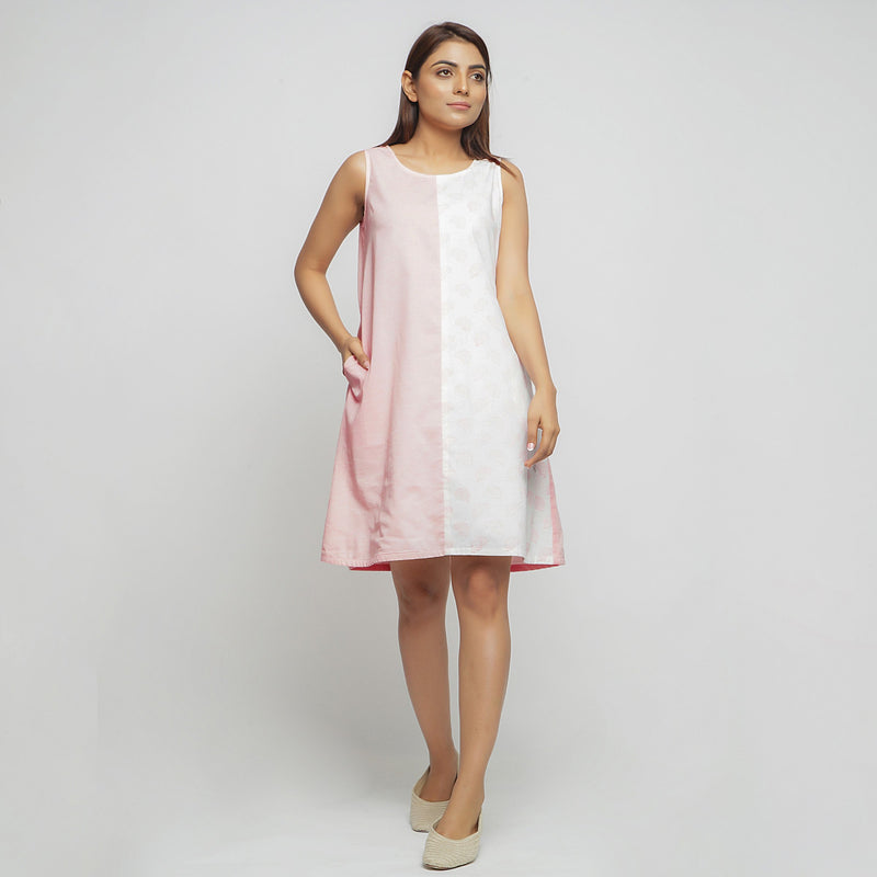 Front View of a Model wearing Peach Hand Block Printed Paneled Dress