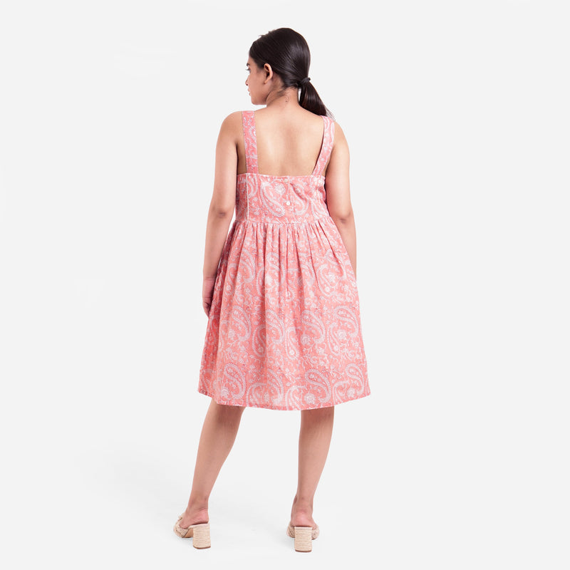Back View of a Model wearing Peach Paisley Fit-and-Flare Cotton Dress