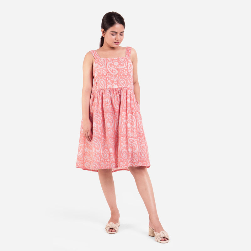 Front View of a Model wearing Peach Paisley Fit-and-Flare Cotton Dress