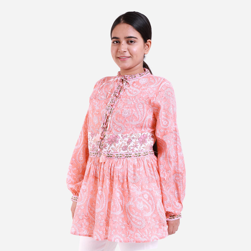 Front View of a Model wearing Peach Paisley Mandarin Collar Top