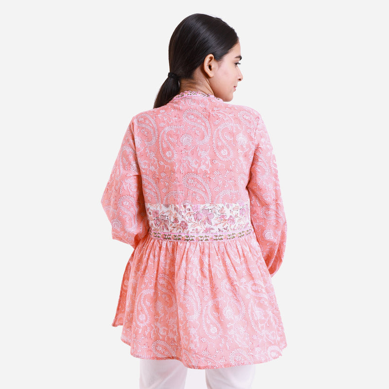 Back View of a Model wearing Peach Paisley Mandarin Collar Top