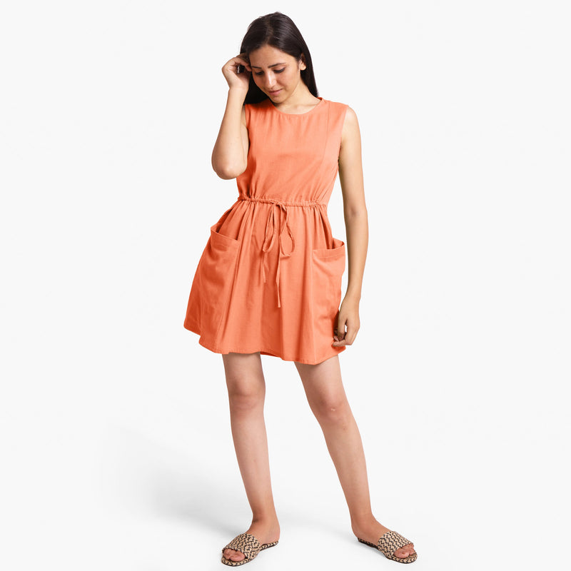 Front View of a Model wearing Peach Patch Pocket Round Neck Dress