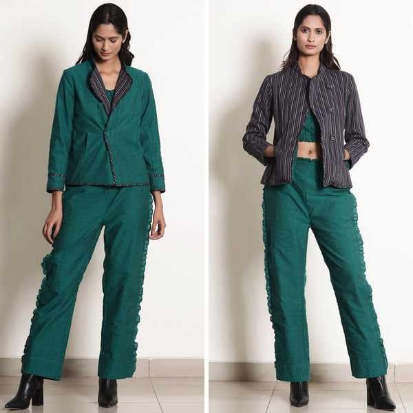 Front View of a Model wearing Pine Green Reversible Asymmetric Jacket
