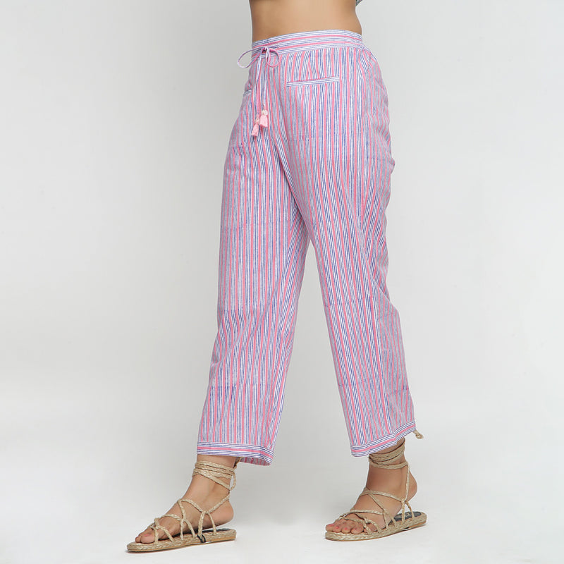 Left View of a Model wearing Pink and Blue Block Printed Cotton Pant
