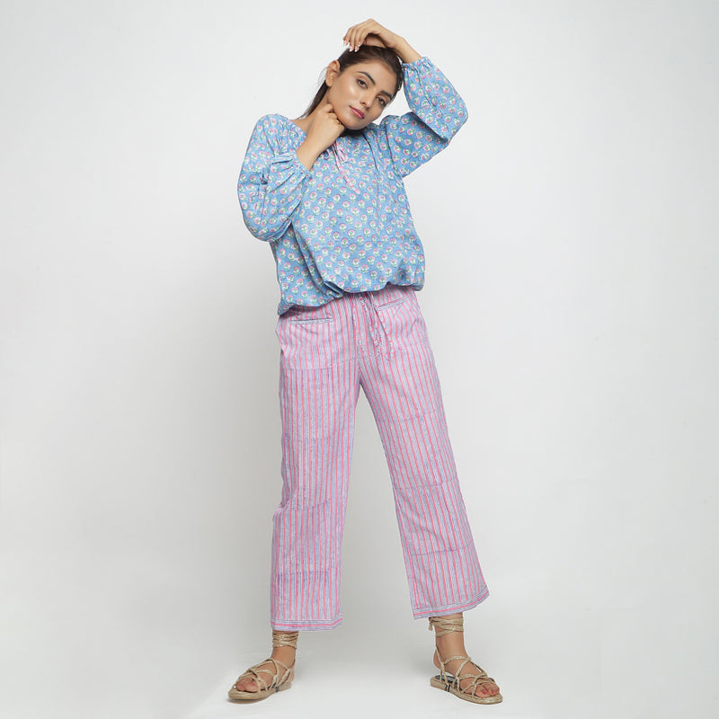 Front View of a Model wearing Pink and Blue Block Printed Cotton Pant