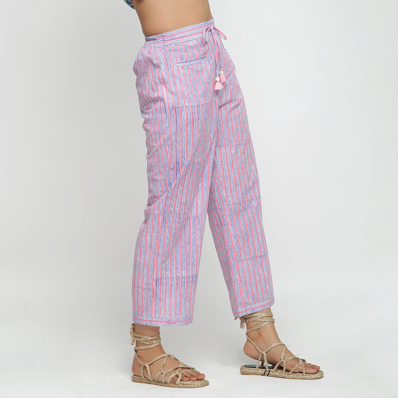 Right View of a Model wearing Pink and Blue Block Printed Cotton Pant