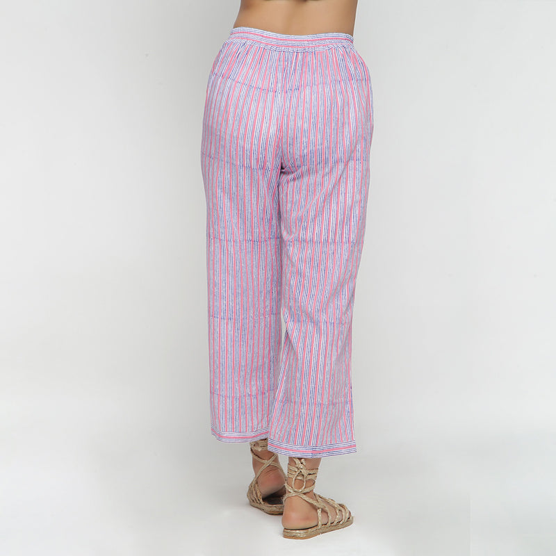 Back View of a Model wearing Pink and Blue Block Printed Cotton Pant