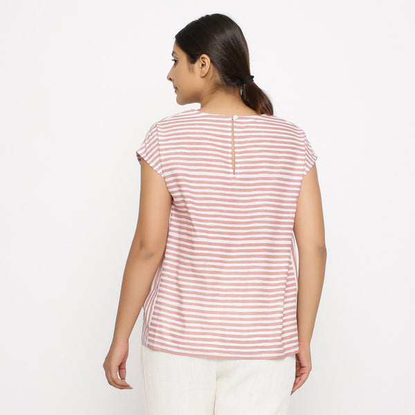 Back View of a Model wearing Pink And White Hand Screen Printed Gathered Top