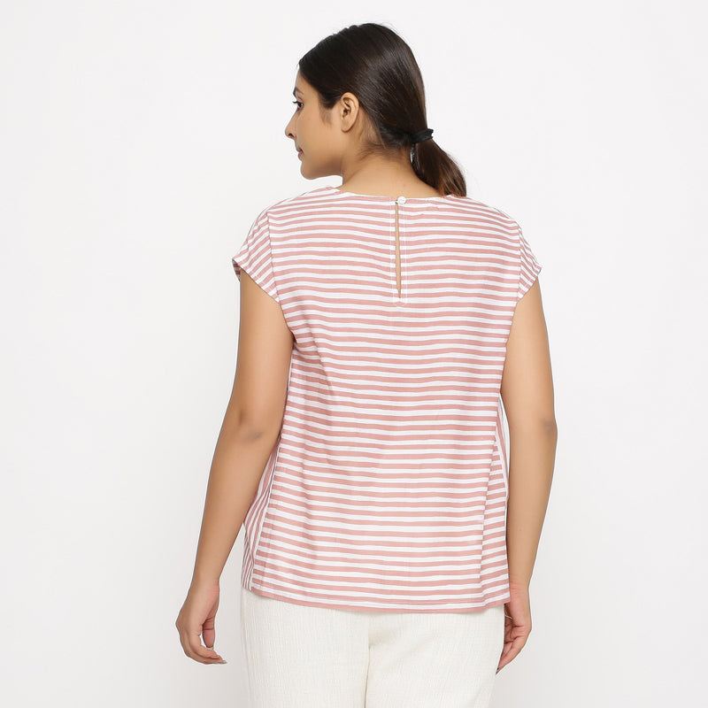 Back View of a Model wearing Pink And White Hand Screen Print Gathered Top