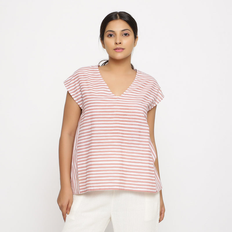 Front View of a Model wearing Pink And White Hand Screen Print Gathered Top