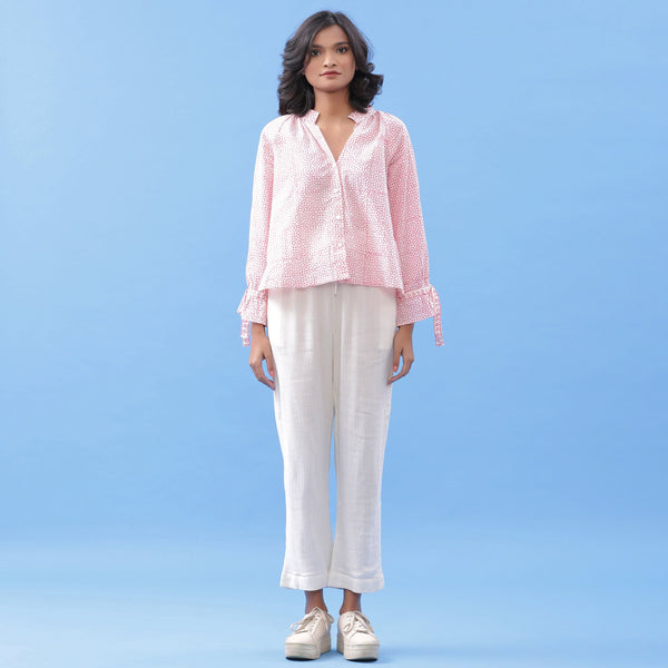 Pink Button-Down Blouse and Tapered Pant Set