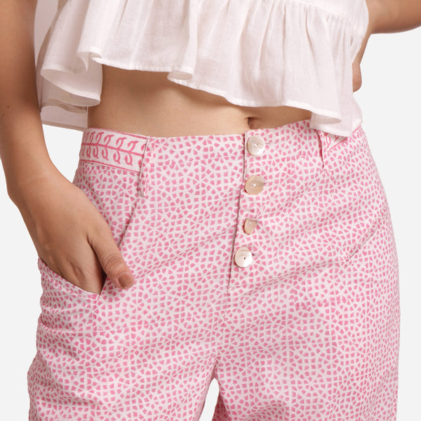 Front Detail of a Model wearing Pink Hand Block Printed Mid Rise Culottes