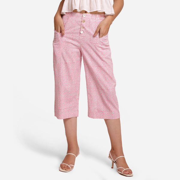 Front View of a Model wearing Pink Hand Block Printed Mid Rise Culottes